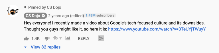 pinned YouTube comment