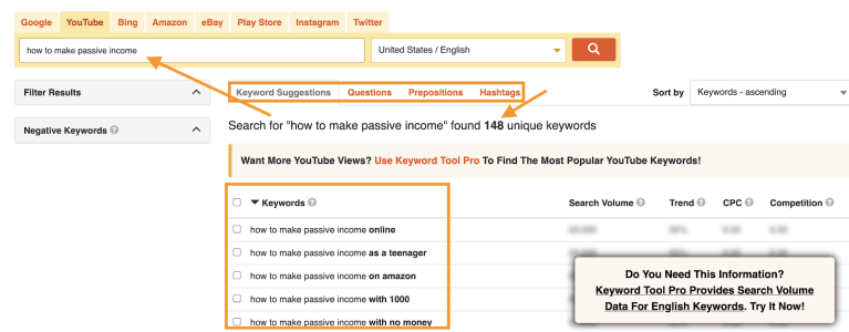 free youtube keyword tool