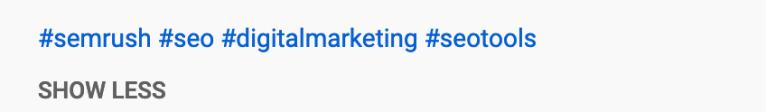 video description hashtag
