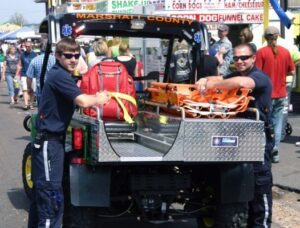 """Marshall County EMS Medical Gator on standby at 2010 """"Tater Days"""" event in Benton, KY."""