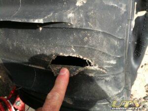 Rock damage to comp cut paddle