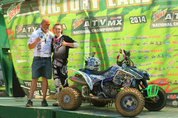 Alexander Gillette (right) put his No. 88 Root River Racing-backed Honda, equipped with ITP tires, atop the 450 B class podium in Minnesota.