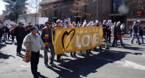 marching with Love banner