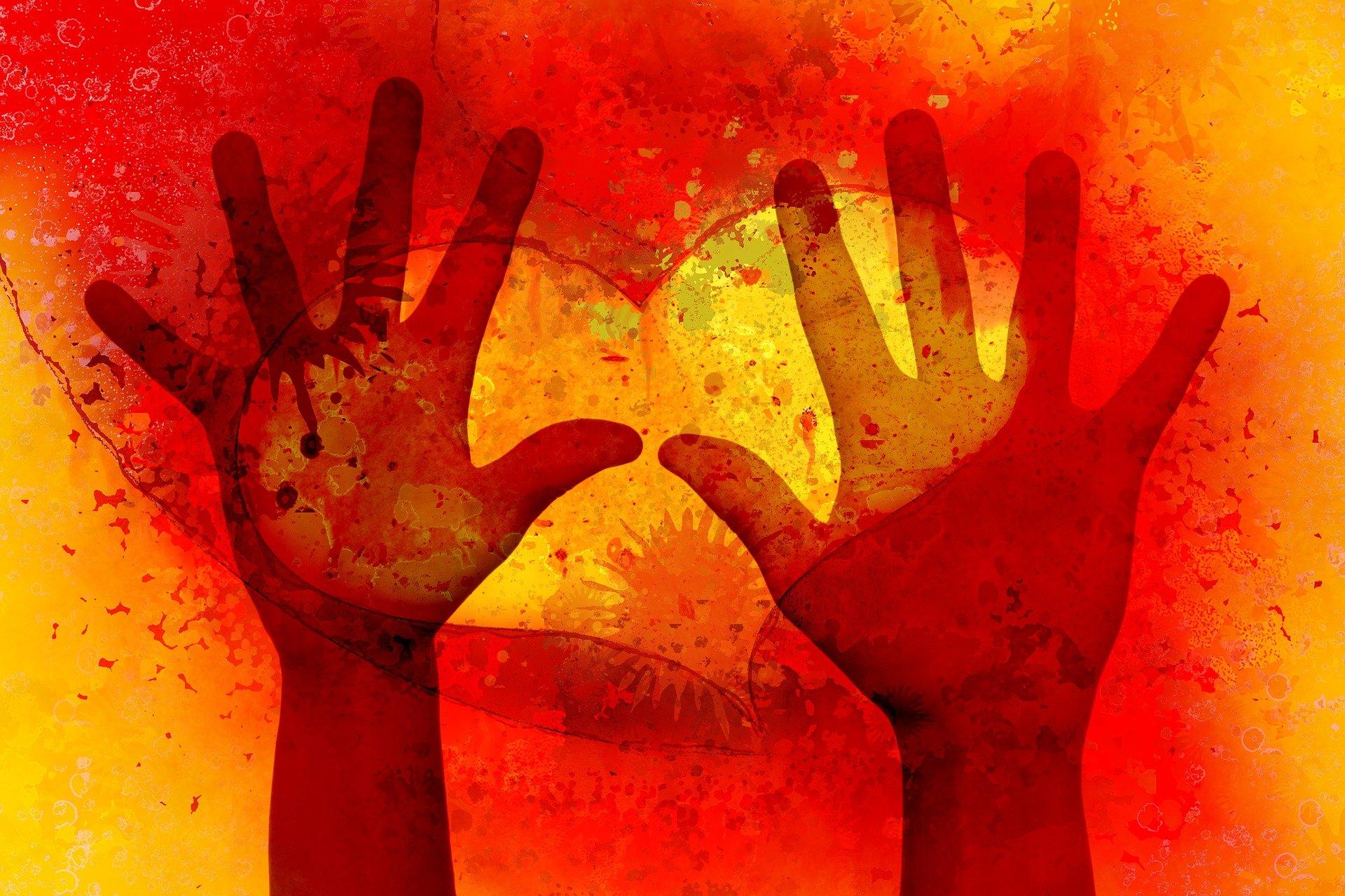 volunteering hands and heart