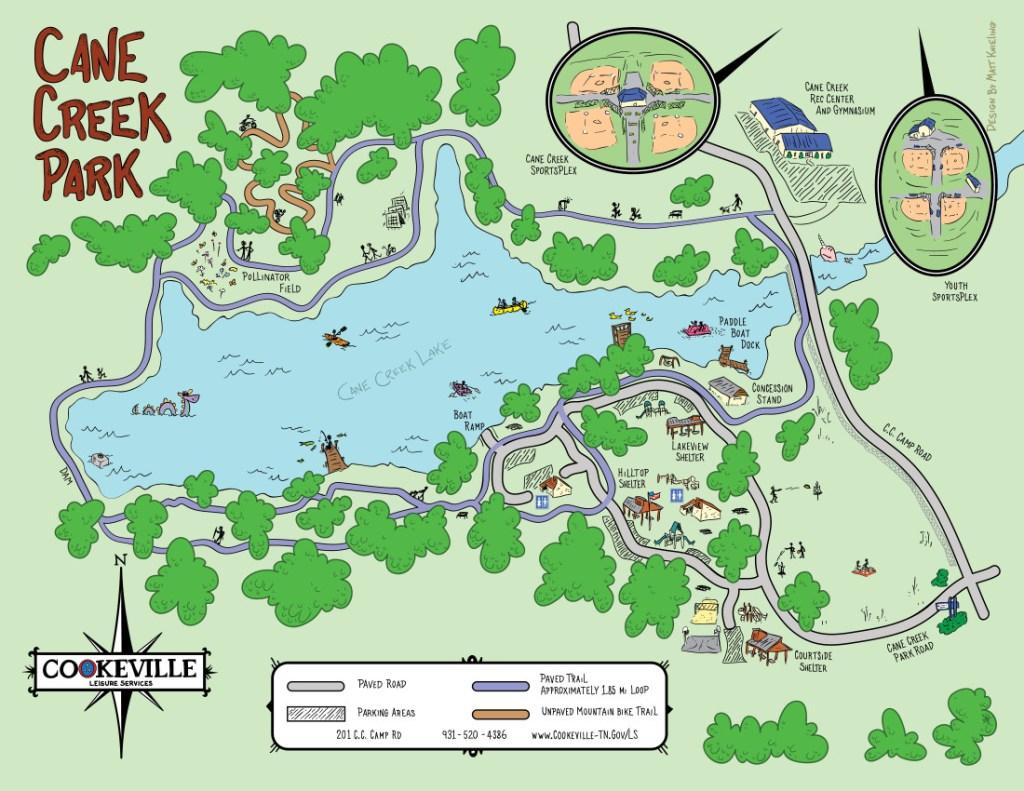 map of cane creek park by artist Matt Kneiling