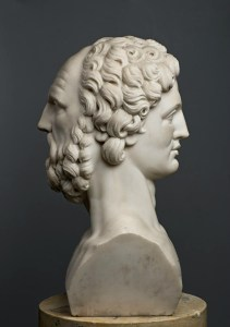 bust of ancient Greek looking forward and backward