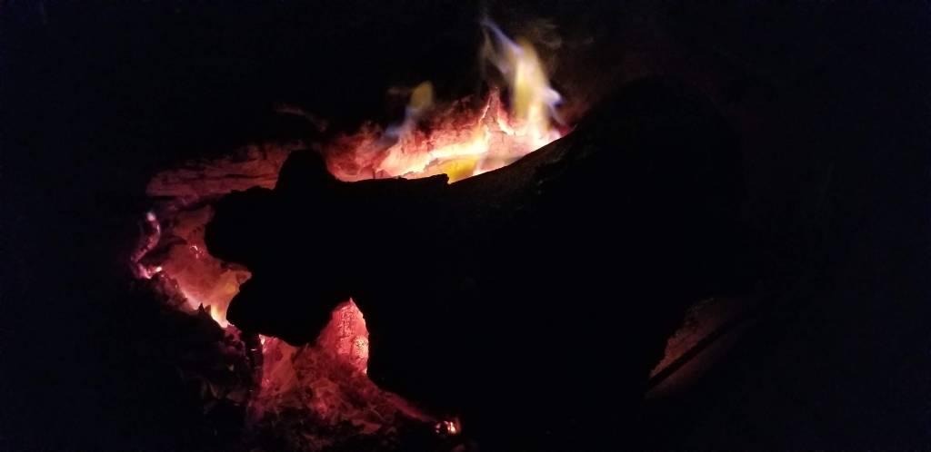 fire pit in the dark