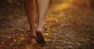 someone's bare feet walking along a path