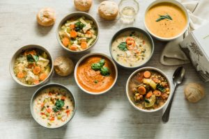 Several bowls of soup
