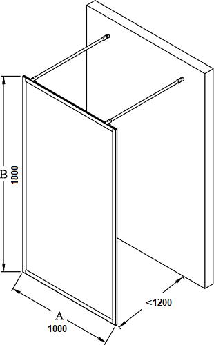 Hietakari – Sandriff BLÄK Walk-in Kiinteä suihkuseinä mittakuva