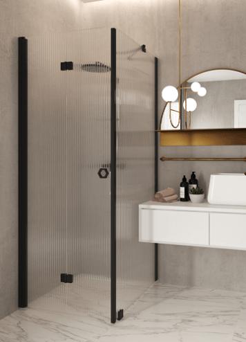 Hietakari – Sandriff Forma369 Suihkunurkka kiinteällä seinällä ja taittuvalla ovella musta runko