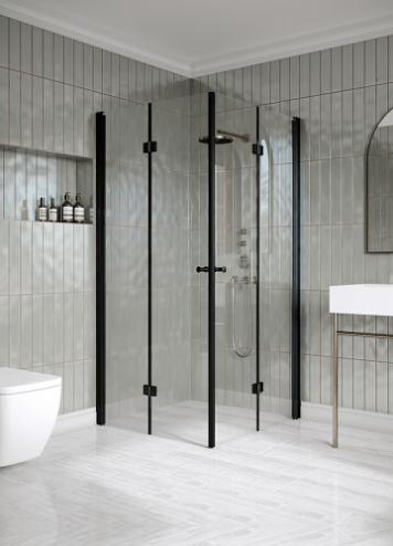 Hietakari Classic 150 Suihkunurkka taittuvilla ovilla musta kehys, kirkas lasi