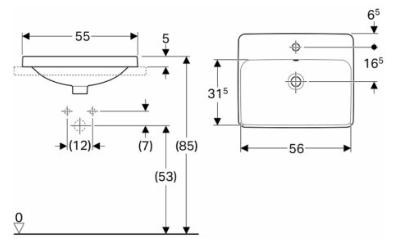 IDO Variform Pesuallas 550mm tasoon asennettava suorakulmainen mittakuva