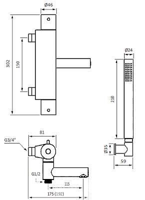 Tapwell EVM026-150 Suihku- ja ammehana Mittakuva
