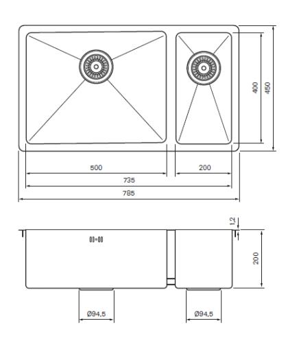 Tapwell TA7040 Allas Steel mittakuva