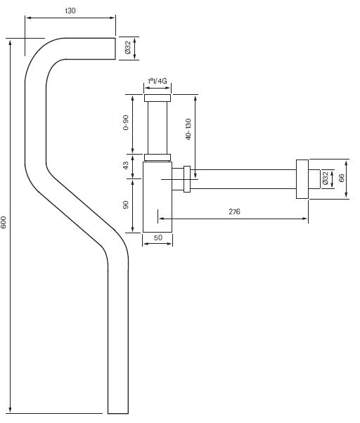 Tapwell XA200 S-vesilukko ja putki mittakuva