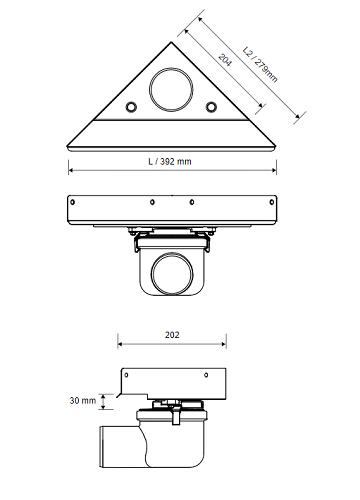 Unidrain Highline Custom Laatoitettava Lattiakaivokaluste (mittakuva)