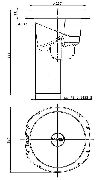 Vieser One Pystykaivo DN 75 3×32-40 Mittakuva