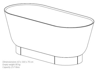 Woodio Flow Kylpyamme mittakuva