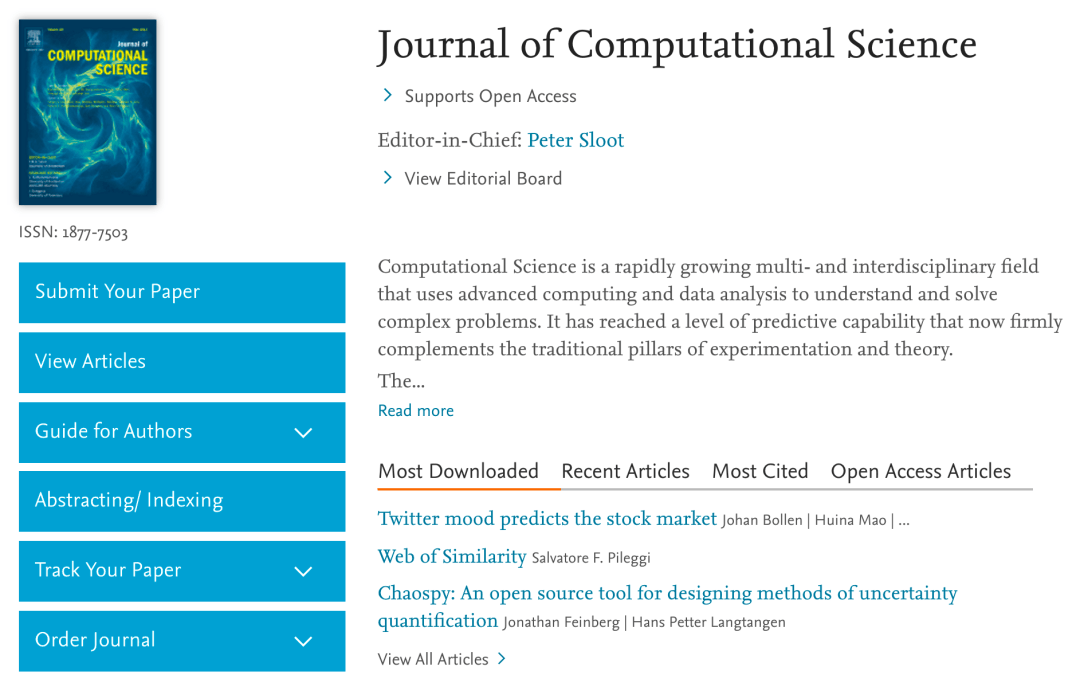 Journal of Computational Science impact factor has grown 62%
