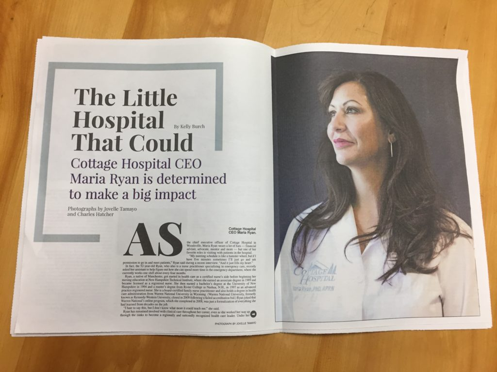 The cover story in September 2017 issue of Enterprise focuses on Cottage Hospital CEO Maria Ryan.