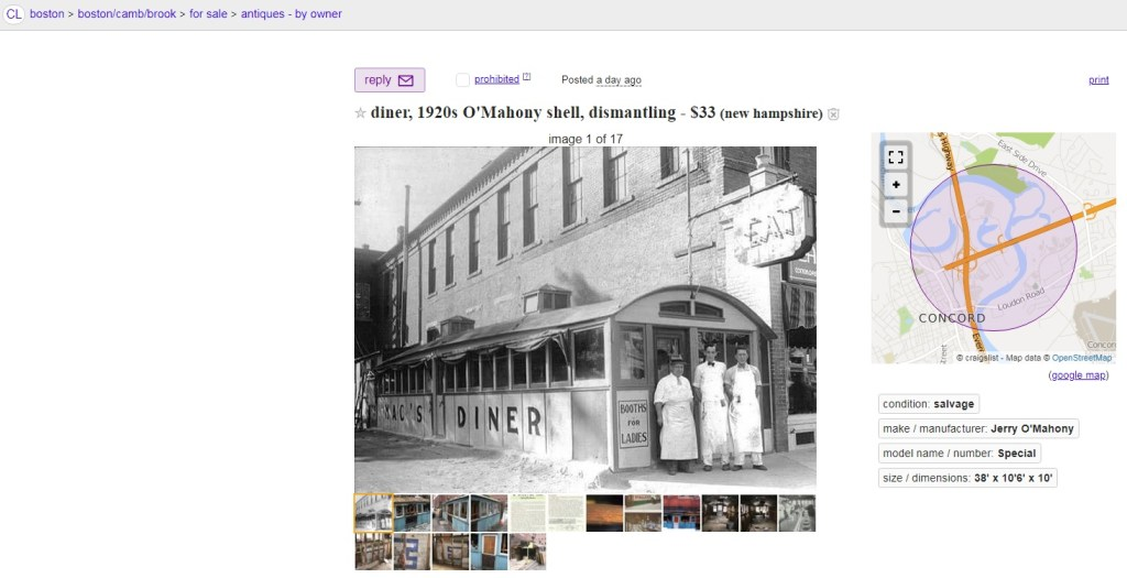 A screenshot of a Craigslist posting advertising the remains of a circa 1920s wood-framed diner for sale in Concord., N.H.