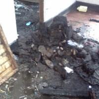 Maison brulée à Uvira Mulongwe