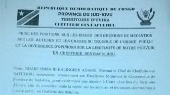 Lemera-RDC: Rebondissements dans la Prise de pouvoir de la chefferie de Bafuliiru par Albert MUKOGABWA II MUZIMA WA SIMBA