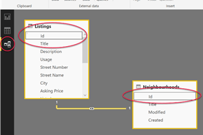 Power BI relationship editor with default relationship defined