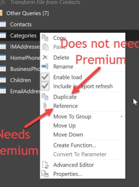 New query create options in Power BI Desktop