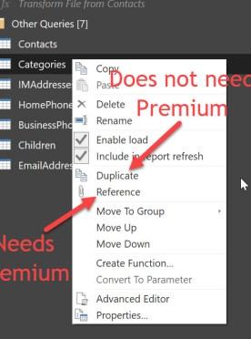 New query create options in Power BI Desktop
