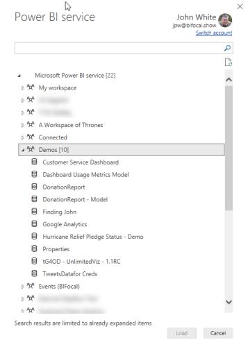 Selecting a Power BI dataset