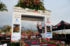 Caleb Knight '20 crossing the finish line at the Ironman competition in Kona, Hawaii.