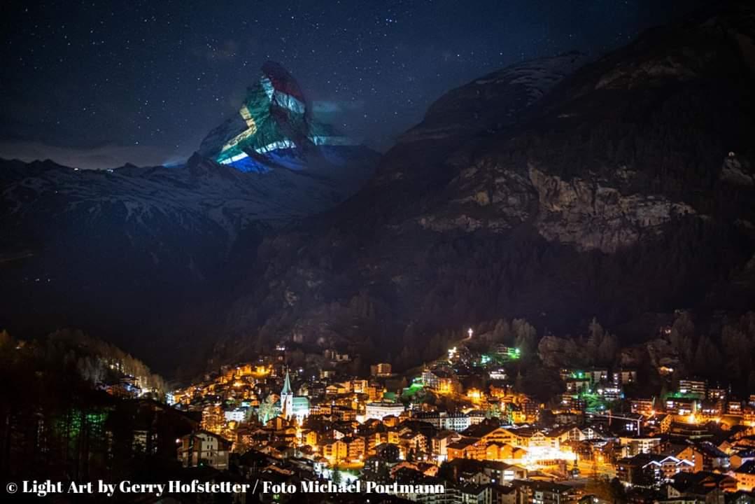 SA flag lights up Matterhorn mountain in Switzerland