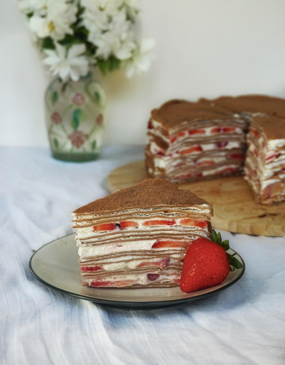 Chocolate Strawberry Mille Crepe Cake