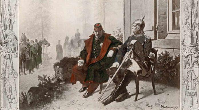 Napoleon III. und Bismarck am Morgen nach der Schlacht bei Sedan.