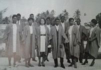 """""""The first batch of overseas students in their pristine academic gowns"""". Image Credit: """"UWI Cave Hill, Forty Years: A Celebration, 2003, p.56"""