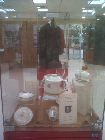 Hall crockery on display.