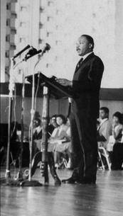 Rev Dr Martin Luther King speaking at the Valedictory Service for the UWI Class of 1965 on June 20, 1965