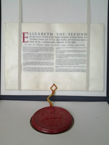 1962 Charter approved by Queen Elizabeth II. See the seal attached to the document as described