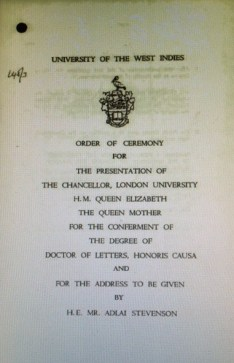 Programme for presentation of the UWI's first Honorary Degree