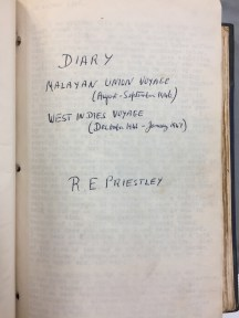 One of the cover pages - one of the Priestley diaries in the Cadbury collection