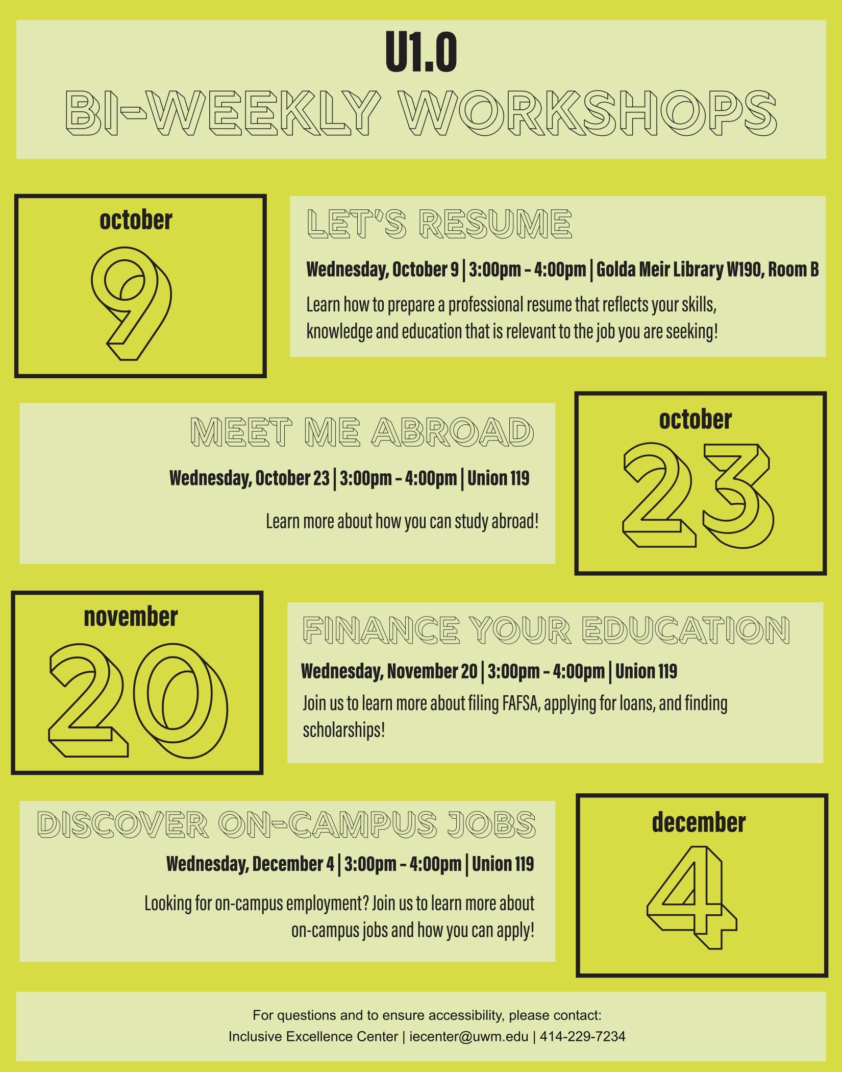 U 1 0 Bi Weekly Events