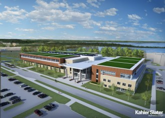 Natatorium exterior concept, including east wing dedicated to Kinesiology and Occupational Therapy