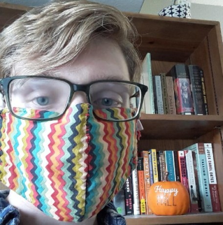 Liam Strong wearing a mask