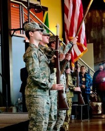 ROTC members present the colors at the beginning of the 2019 Veterans Day Ceremony. This year's event, held virtually, honored four students, staff and alumni.