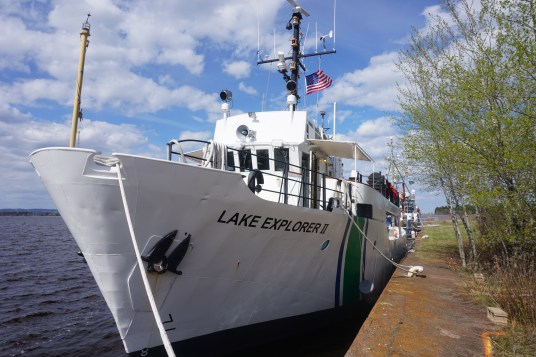 The Environmental Protection Agency (EPA) vessel Lake Explorer II moored at the Lake Superior Research Institute's Montreal Pier.