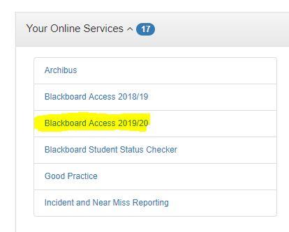 Blackboard Access link on Staff Portal