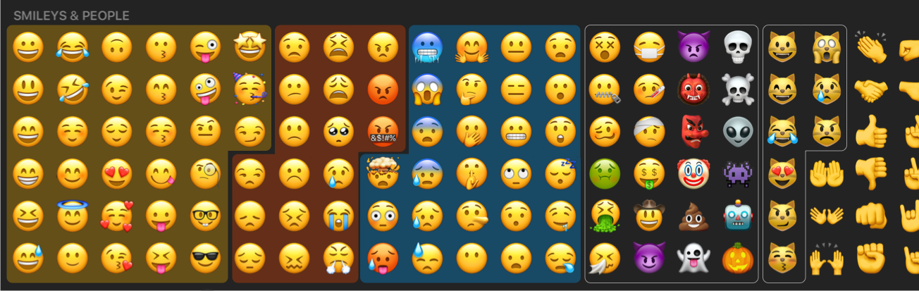 Suggestions for visually grouping emojis.