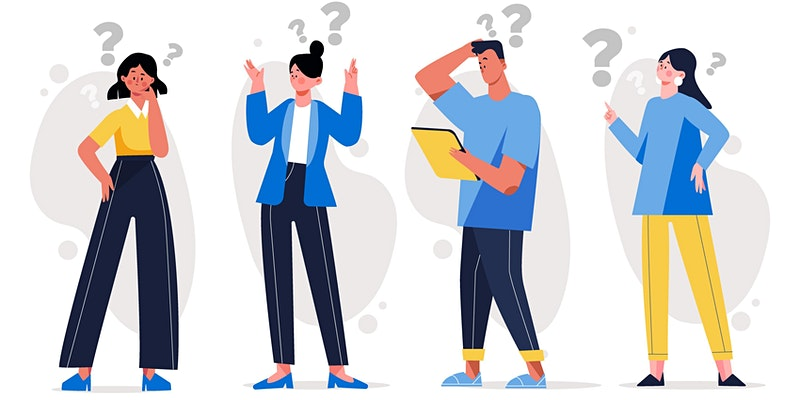illustration of people at work having questions